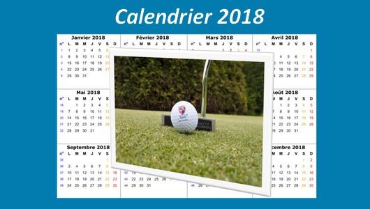 """Résultat de recherche d'images pour """"calendrier golf  2018"""""""